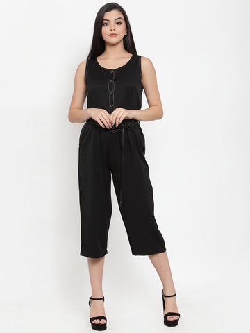 Aujjessa Black Self Pattern Culotte Jumpsuit