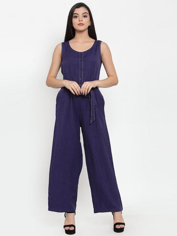 Aujjessa Navy Blue Self Pattern Basic Jumpsuit