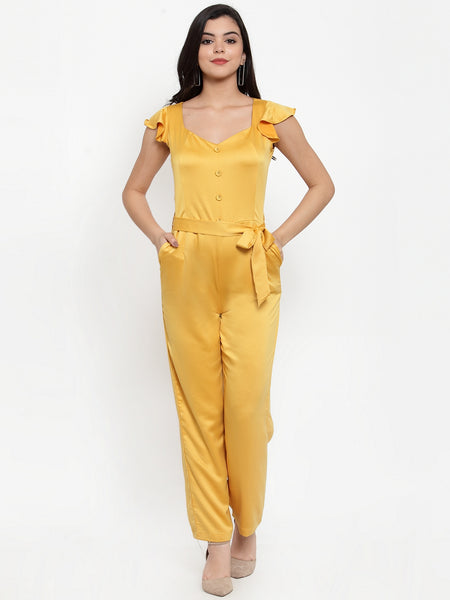 Aujjessa Yellow Solid Basic Jumpsuit