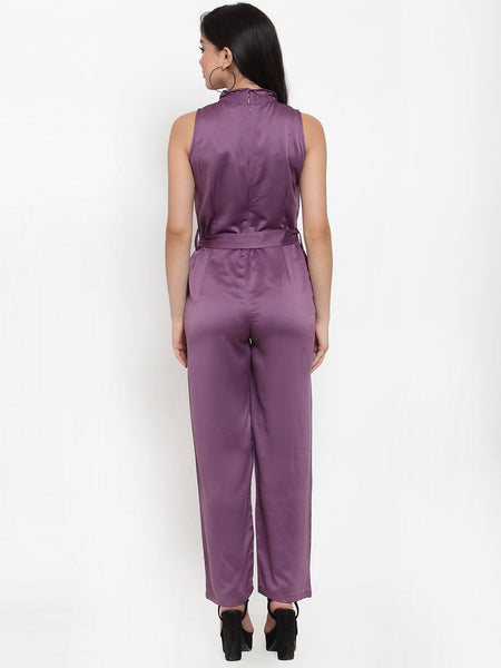Aujjessa Plum Solid Basic Jumpsuit