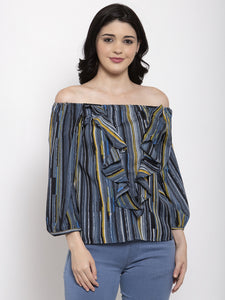 Aujjessa Grey Multi Printed Top