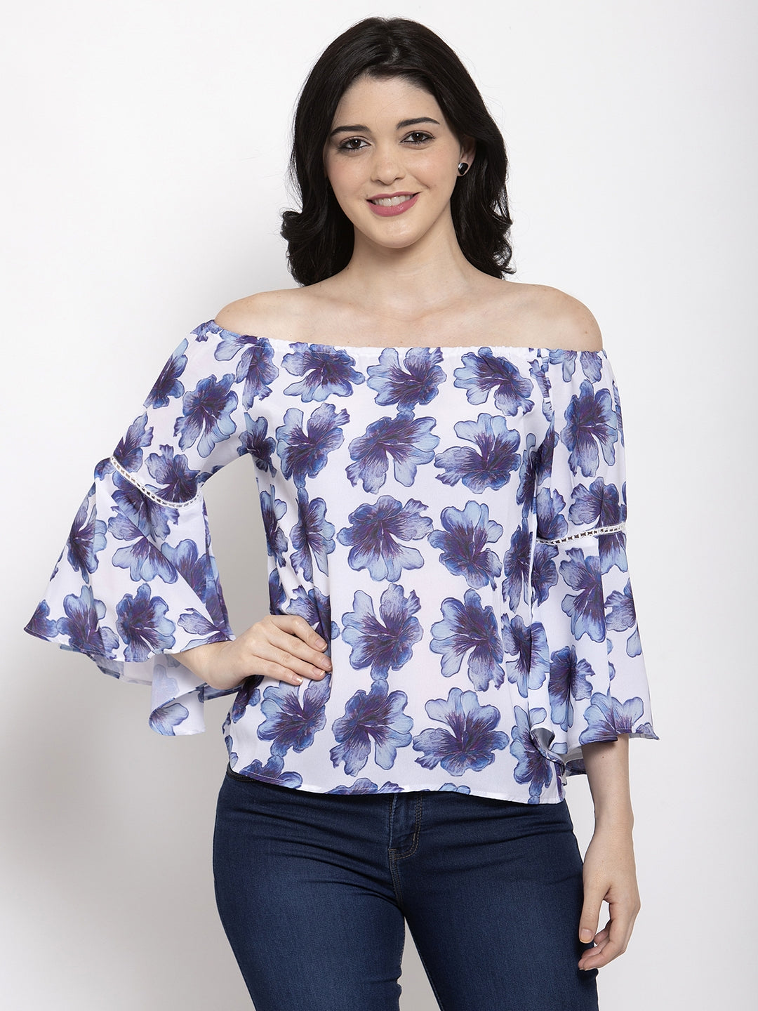 Aujjessa White Blue Printed Top