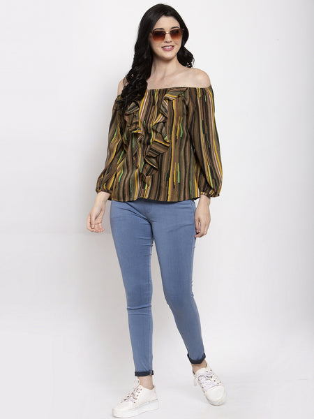 Aujjessa Brown Multi Printed Top