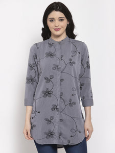Aujjessa Grey Embroidered Top