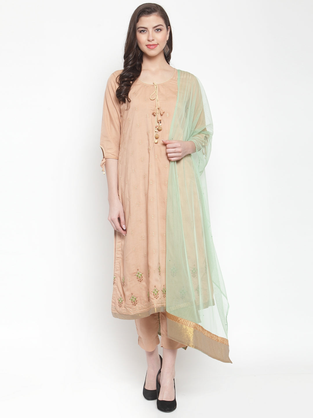 Aujjessa Beige Embroidered Kurta Trouser Suit Set