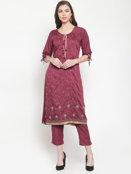 Aujjessa Purple Embroidered Kurta Trouser Suit Set