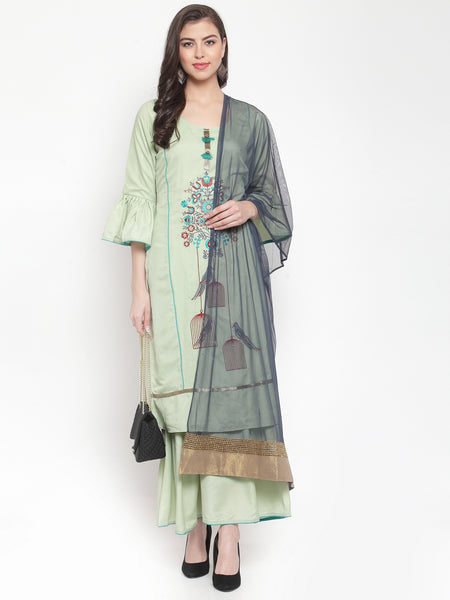 Aujjessa Pista Green Embroidered Kurta Sharara Suit Set