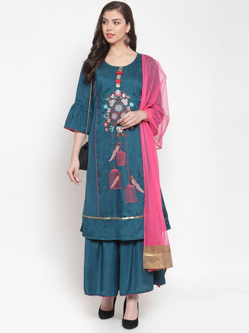 Aujjessa Teal Blue Embroidered Kurta Sharara Suit Set