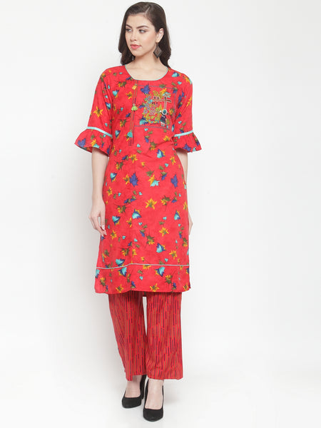 Aujjessa Red Multi Embroidered Kurta Palazzo Set