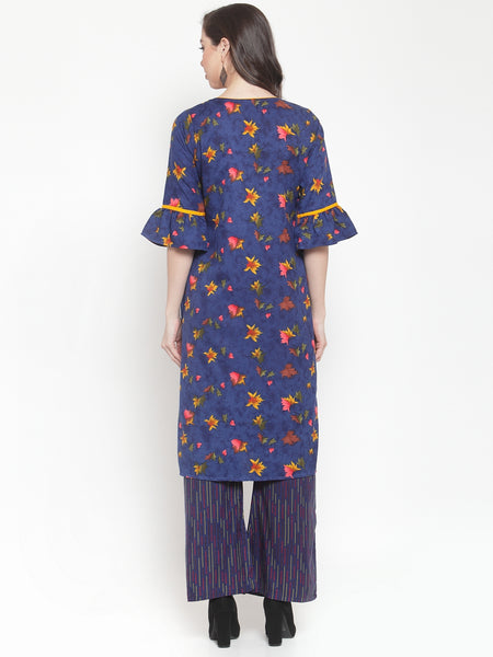 Aujjessa Blue Multi Embroidered Kurta Palazzo Set