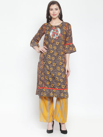 Aujjessa Black Yellow Embroidered Kurta Palazzo Set