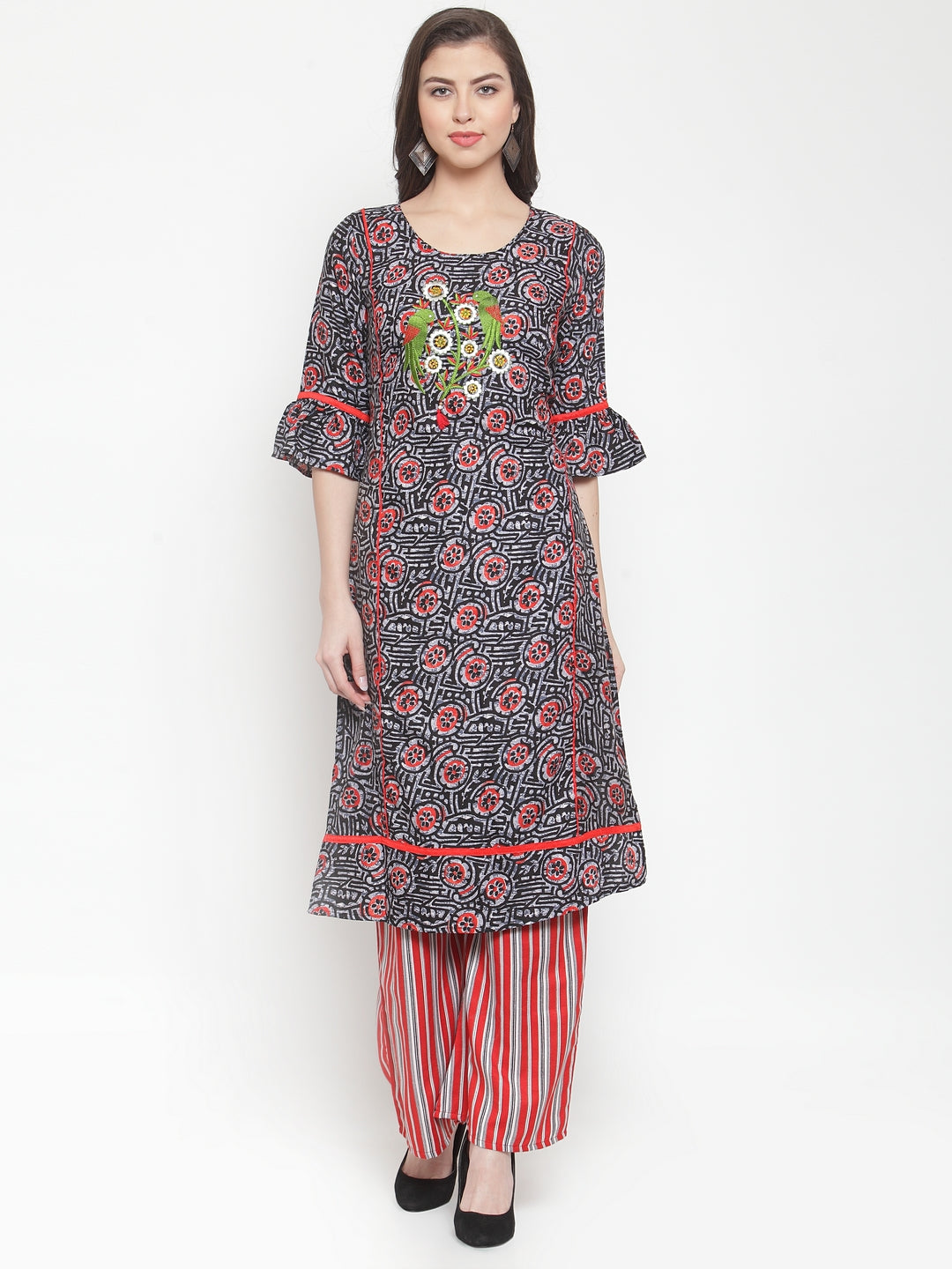 Aujjessa Black Red Embroidered Kurta Palazzo Set