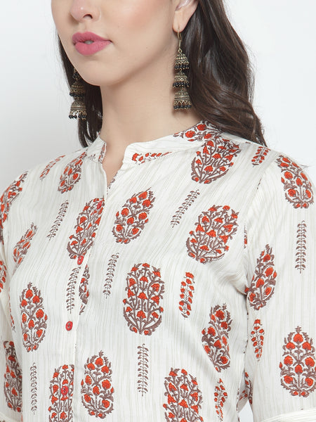Aujjessa White Red Rayon Prined Kurta Palazzos Set