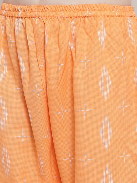 Aujjessa Orange Rayon Prined Kurta Palazzos Set