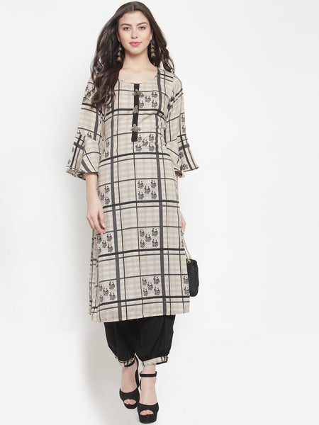 Aujjessa Cream Black Rayon Prined Kurta Palazzos Set
