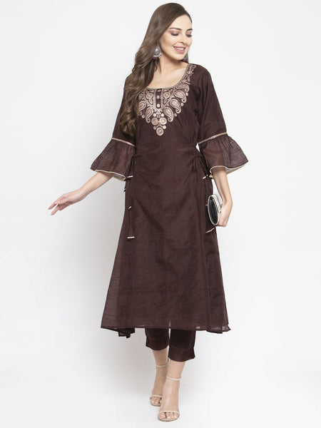 Aujjessa Dark Brown Embroidered Chanderi Kurta Trousers Set