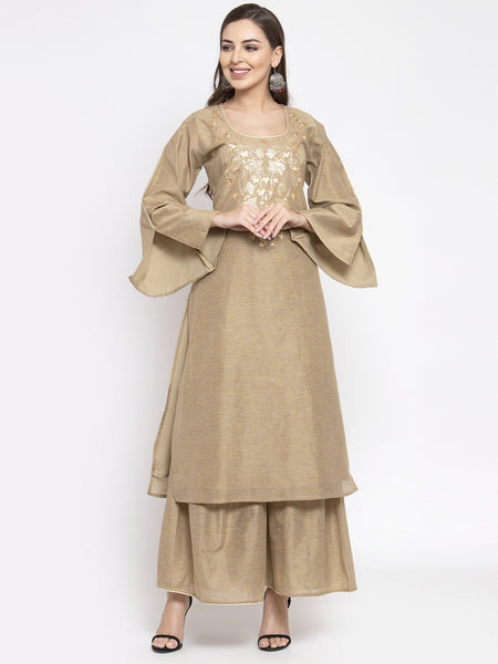 Aujjessa Beige Embroidered Chanderi Kurta Sharara Set