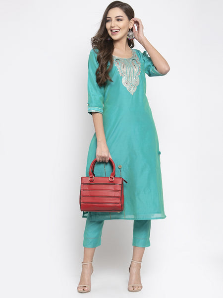 Aujjessa Teal Green Embroidered Chanderi Kurta Trousers Set