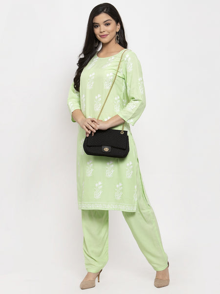 Aujjessa Mint Green Printed Kurta Trouser Set