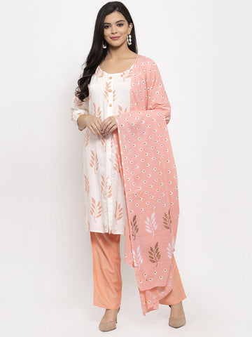 Aujjessa White Peach Printed Kurta Trouser Set