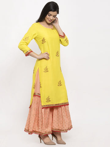 Aujjessa Yellow Peach Embroidered Kurta Sharara Set
