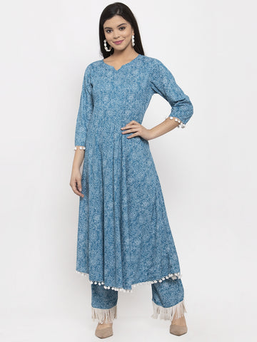 Aujjessa Blue White A-Line Printed Kurta Trouser Set