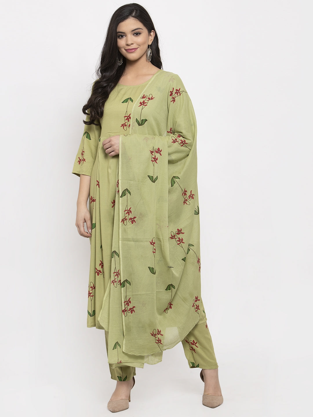 Aujjessa Green Printed Kurta Trouser Set