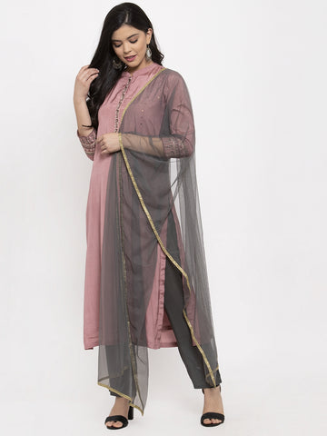 Aujjessa Taupe Grey Embroidered Kurta Trouser Set