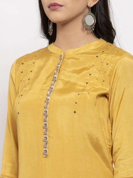 Aujjessa Mustard Grey Embroidered Kurta Trouser Set
