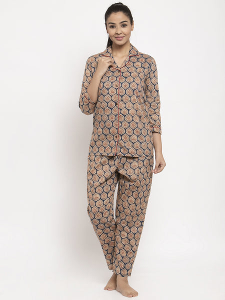Aujjessa Indigo Multi Cotton Printed Night Suit