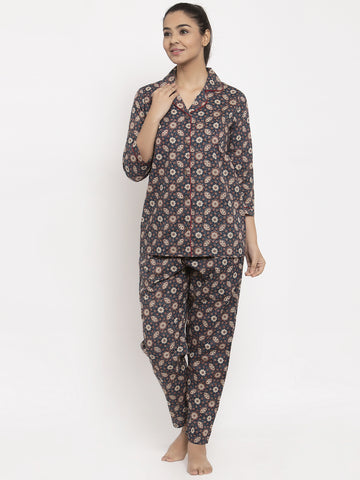 Aujjessa Indigo Red Cotton Printed Night Suit