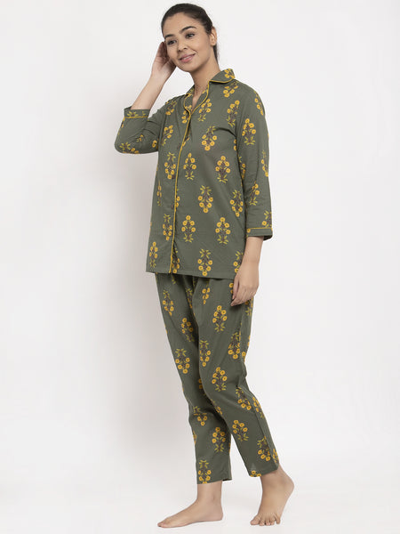 Aujjessa Green Yellow Cotton Printed Night Suit