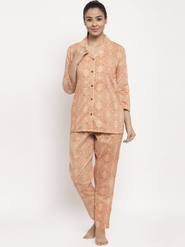 Aujjessa Faun Red Cotton Printed Night Suit