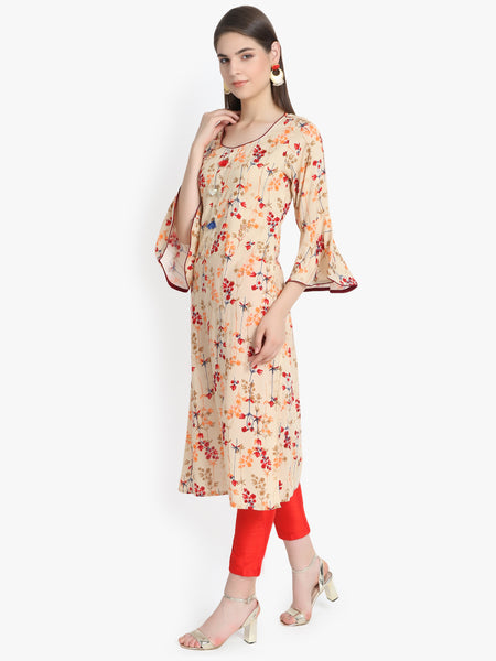 Aujjessa Faun Maroon Printed Embroidered Straight Kurta