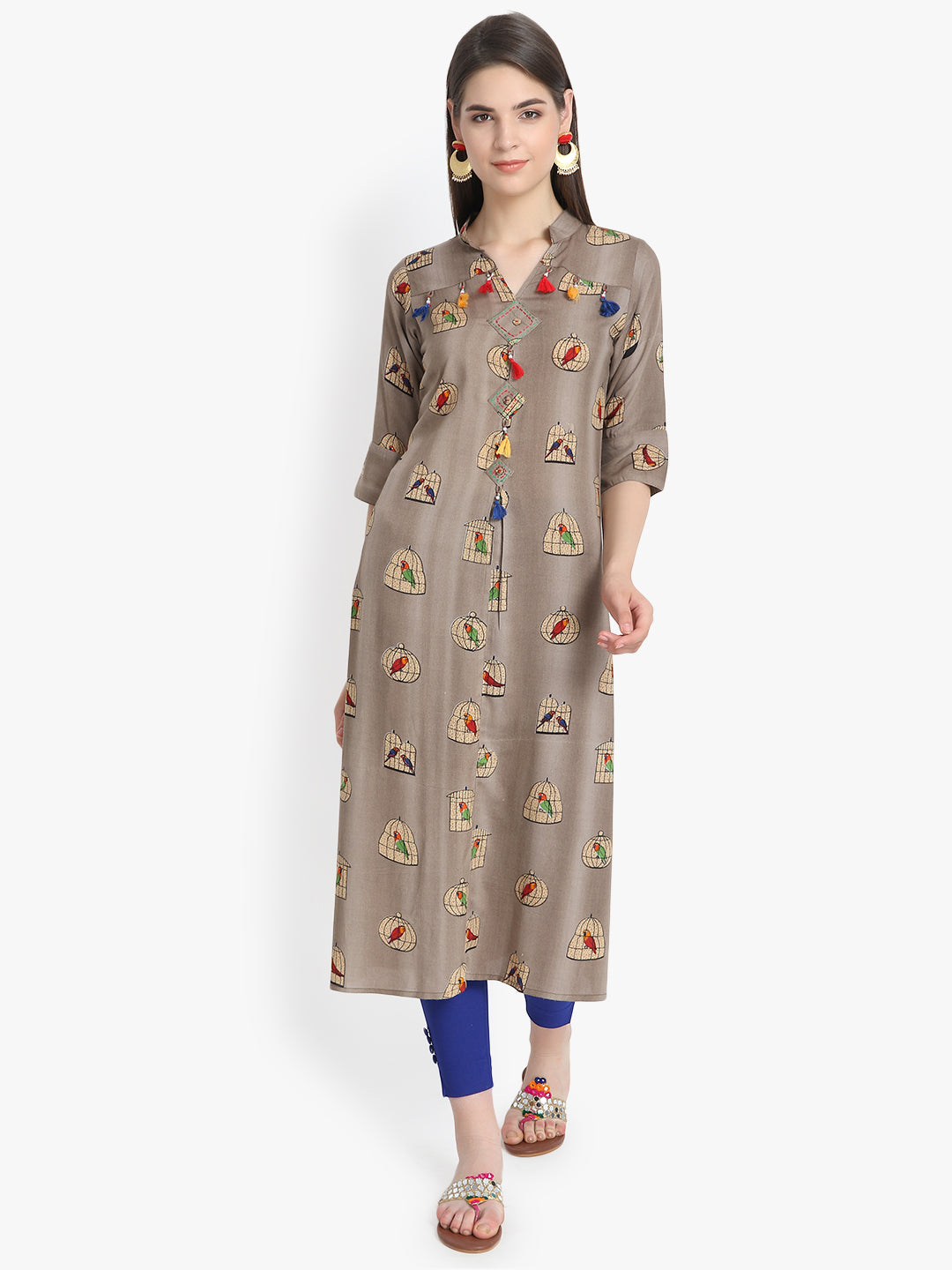 Aujjessa Grey Multi Cage Printed Straight Kurta