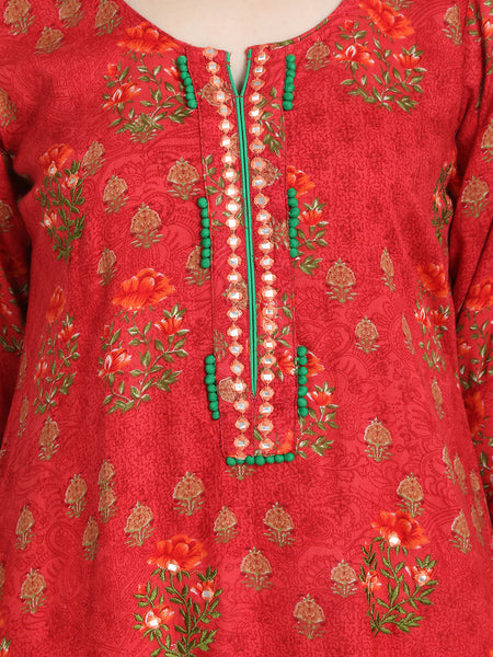 Aujjessa Coral Green Printed Embroidered Straight Kurta