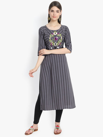 Aujjessa Grey Black Printed Embroidered Straight Kurta