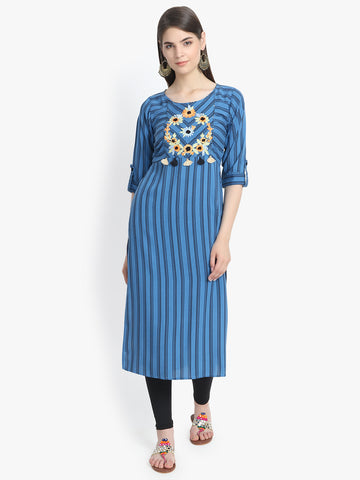 Aujjessa Blue Black Printed Embroidered Straight Kurta