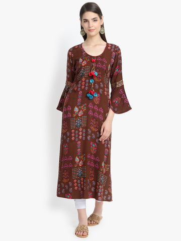 Aujjessa Brown Multi Gotta work Printed Straight Kurta