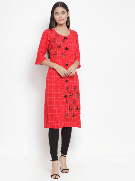 Aujjessa Red Embroidered Printed Straight Kurta