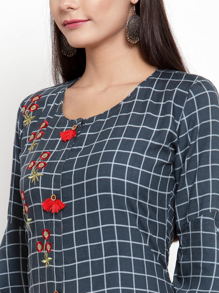 Aujjessa Grey Milange Embroidered Printed Straight Kurta