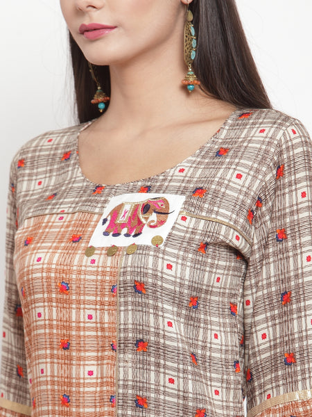 Aujjessa Brown Multi Embroidered Printed Straight Kurta