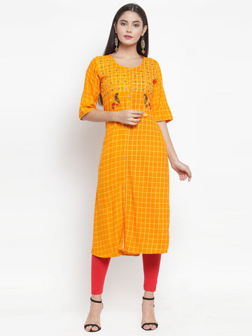 Aujjessa Mustard Embroidered Printed Straight Kurta