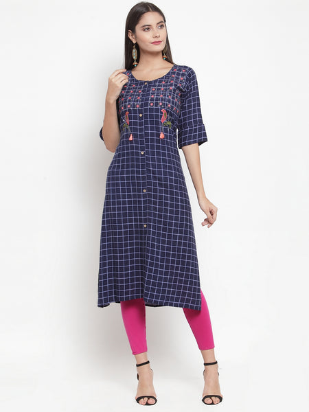 Aujjessa Indigo Embroidered Printed Straight Kurta