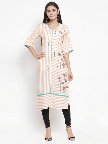 Aujjessa Off-White Peach Embroidered Printed Straight Kurta
