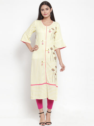 Aujjessa Off-White Yellow Embroidered Printed Straight Kurta