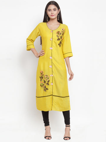 Aujjessa Yellow Embroidered Straight Kurta