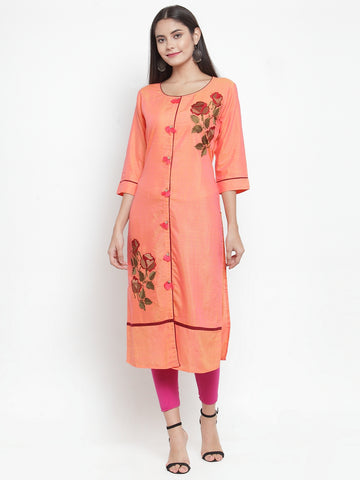 Aujjessa Orange Embroidered Straight Kurta