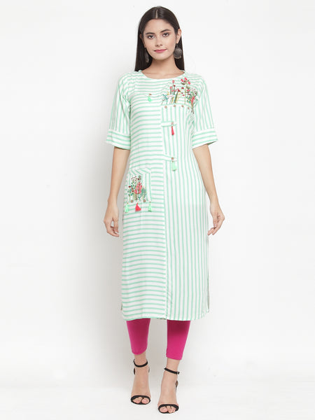 Aujjessa Off-White Green Embroidered Printed Straight Kurta