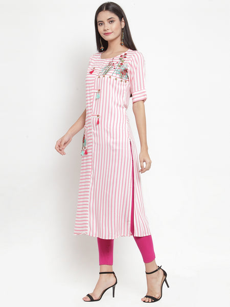 Aujjessa Off-White Pink Embroidered Printed Straight Kurta